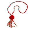 Red Wood, Glass, Sea Shell, Tree Seed Bead with Pom Pom Tassel Long Necklace - 80cm L/ 16cm Tassel