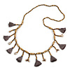 Long Natural Wood, Bronze Glass Bead with Grey Cotton Tassel Necklace - 100cm L