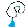 Statement Dark Brown Tree Seed and Light Blue Acrylic Bead Necklace with Azure Blue Silk Tassel - 94cm L/ 11cm Tassel