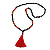 Statement Dark Brown Tree Seed and Red Acrylic Bead Necklace with Red Silk Tassel - 94cm L/ 11cm Tassel