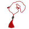 Red Crystal Bead Necklace with Bronze Tone Hamsa Hand Charm/ Silk Tassel Pendant - 80cm L/ 14cm Tassel