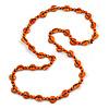 Long Orange Wood Button Bead Necklace - 110cm Long