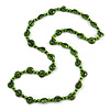 Long Lime Green Wood Button Bead Necklace - 110cm Long
