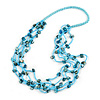 Long Multistrand Light Blue/ Sea Blue Shell/ Glass Bead Necklace - 76cm Length