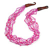 Ethnic Multistrand Pink Glass Bead, Semiprecious Stone Necklace With Wood Hook Closure - 60cm L