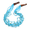 Ethnic Multistrand Light Blue Glass Bead, Semiprecious Stone Necklace With Wood Hook Closure - 60cm L