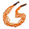 Ethnic Multistrand Orange Glass Bead, Semiprecious Stone Necklace With Wood Hook Closure - 60cm L