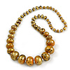 Long Graduated Wooden Bead Colour Fusion Necklace (Glitter Gold/ Black) - 78cm Long