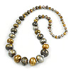 Long Graduated Wooden Bead Colour Fusion Necklace (Grey/ Gold/ Black/ Metallic Silver) - 76cm Long