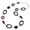 Statement Brown Wooden Bead with Silver Tone Chain Long Necklace - 110cm L