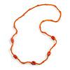 Orange Glass/ Ceramic Bead Long Necklace - 82cm Long