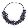 Multistrand Violet Ceramic Bead Cotton Cord Necklace - 58cm Long