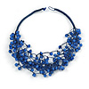 Multistrand Blue Ceramic Bead Cotton Cord Necklace - 58cm Long