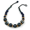 Chunky Colour Fusion Wood Bead Necklace (Blue, Gold, White) - 48cm Long