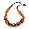 Chunky Colour Fusion Wood Bead Necklace (Orange, Gold, Black) - 48cm Long