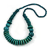 Teal Wood Bead Necklace - 66cm Long