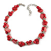 Exquisite Faux Pearl & Shell Composite Silver Tone Link Necklace In Red - 44cm L/ 7cm Ext