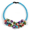 Stunning Light Blue Glass Bead with Multicoloured Shell Floral Motif Necklace - 48cm Long