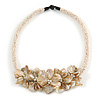 Stunning White Glass Bead with Shell Floral Motif Necklace - 48cm Long