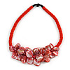 Stunning Glass Bead with Shell Floral Motif Necklace In Red - 48cm Long