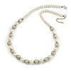 Cream Glass Bead with Silver Tone Metal Wire Element Necklace - 64cm L/ 4cm Ext