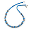 Blue Glass Bead with Silver Tone Metal Wire Element Necklace - 64cm L/ 4cm Ext