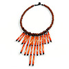 Statement Brown Wood Bead with Orange Bone Bib Necklace - 46cm L/ 14cm Front Drop