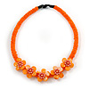Peach Orange Glass Bead with Shell Floral Motif Necklace - 48cm Long