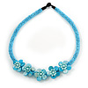 Light Blue Glass Bead with Shell Floral Motif Necklace - 48cm Long