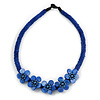 Blue Glass Bead with Shell Floral Motif Necklace - 48cm Long