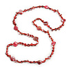 Long Red Glass Bead, Sea Shell Nugget Necklace - 126cm L