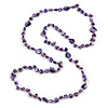 Long Purple Glass Bead, Sea Shell Nugget Necklace - 126cm L