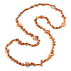 Long Burnt Orange Glass Bead, Sea Shell Nugget Necklace - 126cm L