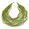 Chunky Lime Green Glass Bead Bib Multistrand Layered Necklace - 80cm L