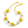 Banana Yellow Glass Ball Bead and Sea Shell Nugget Necklace - 47cm Long