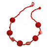 Red Glass Ball Bead and Sea Shell Nugget Necklace - 47cm Long