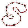 Statement Red Glass Bead with Brown Wood Ball Long Necklace - 145cm L
