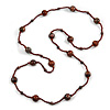 Statement Brown Glass Bead with Brown/ Black Wood Ball Long Necklace - 145cm L