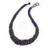 Chunky Graduated Glass Bead Necklace In Electric Blue and Bronze - 60cm Long