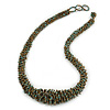 Chunky Graduated Glass Bead Necklace In Dusty Blue and Bronze - 60cm Long