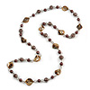 Long Glass and Shell Bead with Silver Tone Metal Wire Element Necklace In Brown - 120cm L