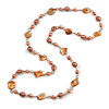 Long Glass and Shell Bead with Silver Tone Metal Wire Element Necklace In Peach Orange - 120cm