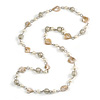 Long Glass and Shell Bead with Silver Tone Metal Wire Element Necklace In Cream/ Antique White - 120cm L
