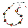Stunning Multicoloured Wood Flower Black Cotton Cord Long Necklace - 90cm L