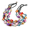 Multistrand Multicoloured Sea Shell and Black Glass Bead Necklace - 60cm Long