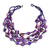 Multistrand Purple Sea Shell and Glass Bead Necklace - 80cm Long