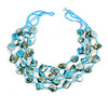 Multistrand Light Blue Sea Shell and Glass Bead Necklace - 60cm Long