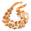 Multistrand Orange Sea Shell and Glass Bead Necklace - 60cm Long