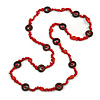 Long Red Semiprecious Stone, Ceramic Bead, Brown Wood Ring Necklace - 106cm L