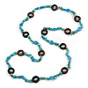 Long Turquoise Stone, Ceramic Bead, Brown Wood Ring Necklace - 102cm L
